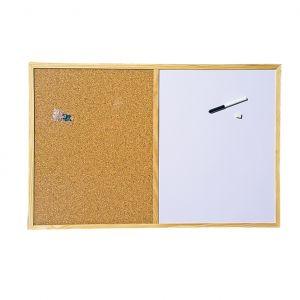 Бяло и корково табло с дървена рамка 40х60 cm